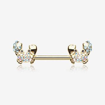 A Pair of Golden Adorable Fiddler Crab Sparkle Nipple Barbell