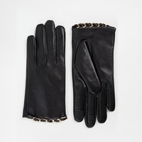 Leather Gloves With Chain