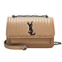 YSL Women  Fashion New Letter Leather Chain Crossbody Shoulder Bag Apricot