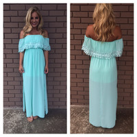 Mint Eyelet Double Slit Maxi Dress