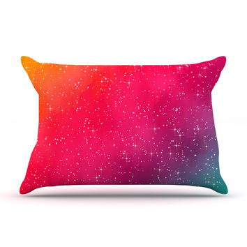 """Fotios Pavlopoulos """"Colorful Constellation"""" Pink Glam Pillow Case"""