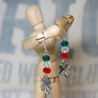 Silvertone Four Leaf Clover Earrings with Irish Flag Accent Colors Perfect for St. Patrick's Day Pride in Ireland