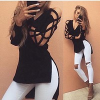 Deep V-Neck Crisscross Long Sleeve Side Split T-Shirt