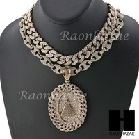 "Iced Out Pyramid Oval Pendant 16"" Iced Out Choker 18"" Puffed Gucci Chain Set G36"