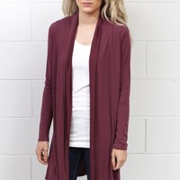 Gone Soft Modal Open Front Cardigan {Burgundy}