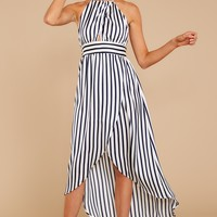 Get To Know You Navy Stripe High Low Dress