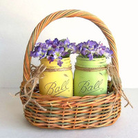 Painted Distressed Mason Jars vases yellow & green w basket pint Ball jars in pastel basket, vase Shabby Rustic Cottage Home Decor