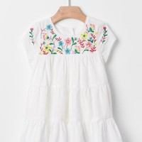 Embroidered tier dress
