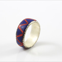 Lapis and Coral Mosaic Ring in  925 Silver Overlay