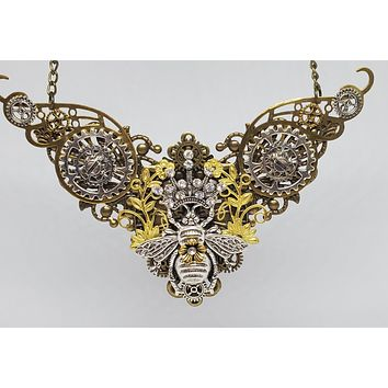 Large Steampunk Queen Bee Winged Bib Necklace