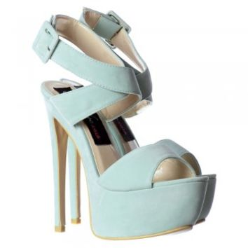 Onlineshoe Suede Peep Toe High Heel Stiletto - Wrap Around Ankle Strap - Black, Mint Green, Red, Nude - Onlineshoe from Onlineshoe UK