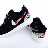 custom nike free roshe black run athletic women shoes with fabric flowers