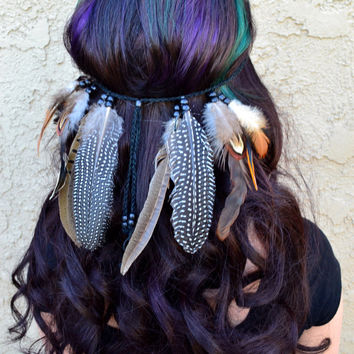 Feather Headband - Feather Hairpiece - Native American - Tribal - Indian - Hippie - Festival - Rave - Bohemian - Burning Man