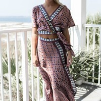 Cherry Salute Red Wrap Top and Maxi Skirt Set