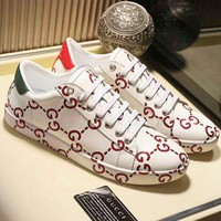 """GUCCI"" Fashion Flats Sneakers Sport Shoes Print Beige"