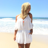 Waves of Ruffle Romper In White