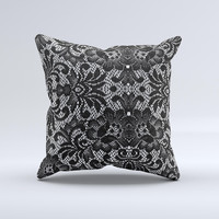 Black and White Lace Pattern10867032 xl ink-Fuzed Decorative Throw Pillow