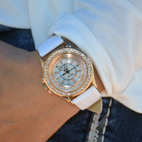 Floating Crystal Bezel Watch - White - CLEARANCE
