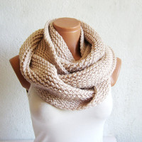 2013 Winter scarf,Knitted infinity Scarf Block Infinity Scarf. Loop Scarf, Circle Scarf, Neck Warmer. Vanilla Crochet Infinity