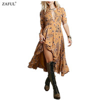 2016  New Women Summer Cute Jewel Neck Sexy Hollow Out Tiny Floral Print Short Sleeve A-Line Boho Style Midi Dress