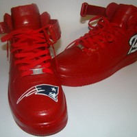 New England Patriots Red Top Nike Air Force Ones