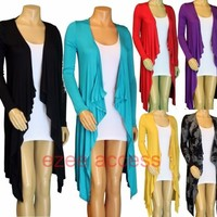 SeXy Women Plus Size Hi Lo Long Sleeve Fly Away Light Coverup Tunic Cardigan 1-3
