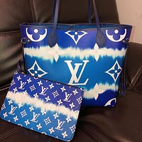 Louis Vuitton LV Fashion Two-piece Set Classic Ladies Large-capacity Shopping Bag Shoulder Bag Coin Purse