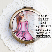 Personalized Gifts for Her - Romantic Valentines Gifts for Her - Compact Purse Mirror - Personalized Bridesmaid Gifts - Best Friend Gifts