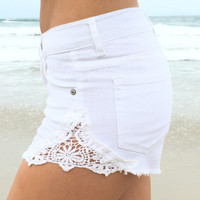 Coastal Access Denim Shorts In White