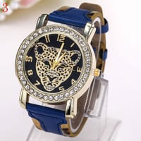 Water Resistant Watch For Men And Women w/ Diamond Leopard Head Decoration Dial Leather Strap Buckle