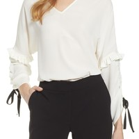 Halogen® Ruched Tie Sleeve Top (Regular & Petite) | Nordstrom