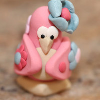 Daisy the Penguin, polymer clay miniature animal, pocket totem, arctic bird figurine, small sculpture, pastel pink, blue, white, and beige