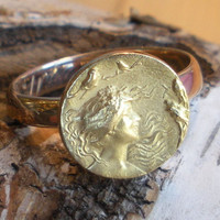 Yellow and Rose Gold Ring Dated 1860 - Art Nouveau Ring - Repousse - Lady and The Bird