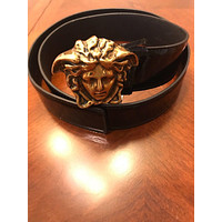 Authentic Versace Leather Medusa Buckle Belt, Size EU90/US36