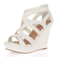 Top Moda Ella-15 Womens Strappy Open Toe Platform Wedge Sandals COLOR WHITE SIZE 8.5