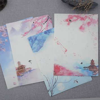 8 Pcs/lot Lovely Retro Classic poetry illustration Season Plants Flowers Painting Letter Paper Writing Paper Letter Stationery