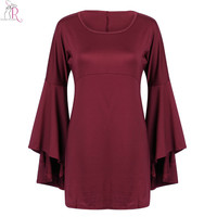 Long Flare Sleeve Shift Mini Fall Dress Wine Red Green Round Neck Loose Casual 2016 Novelty Autumn Women Clothing