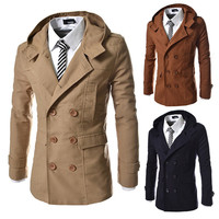 Double Breasted Men's Hoodie Trench Coat