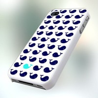 PB0407 Navy Blue Whale Pattern Design For IPhone 4 or 4S Case / Cover