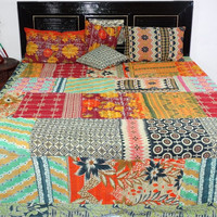 vintage kantha king size quilt vintage sari kantha patchwork quilt handmade sari kantha bedcover with 2. pillow covers + 2.cushion covers