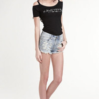 Kendall & Kylie Steel Blue Stud Shorts at PacSun.com