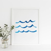 Blue Watercolor Ocean Waves Art Print