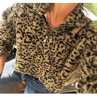 Autumn and winter new leopard print long sleeve top sweater
