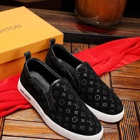LV Louis Vuitton Men's Suede Leather Fashion Sneakers Shoes