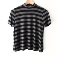 Striped Ribbed Mock Neck Top