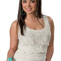 Color FX® Women's White Tiered Lace and Crochet Sleeveless Fashion Tank Top