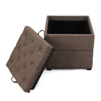 Brown Square Ottoman with Tray & Storage
