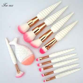 11Pcs Unicorn Conch Shell  Makeup Brushes Set Mermaid Foundation Powder Cosmetics Eyeshadow Face Kabuki Make Up Brush Tools Kit