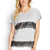 LOVE 21 Lace-Paneled Jersey Tee Heather Grey/Black