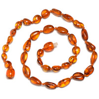 Hand Made Baltic Amber Teething Necklace for Baby - Safety Knotted - Raw Amber - Delivery from USA